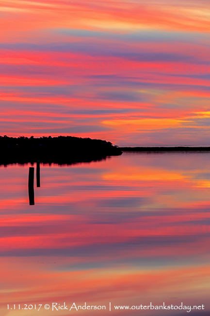 Cotton Candy Sky reflecting in Kitty Hawk Bay at Sunset