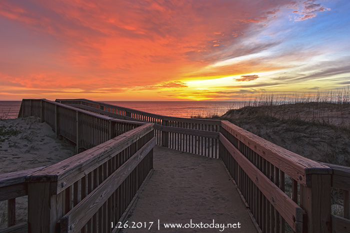 Colorful sunrise in Kill Devil Hills ahead of a cold front