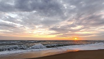 A quick burst of sunlight just after sunrise on the Outer Banks