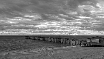 Blustery Overcast morning at Nags Head Pier.